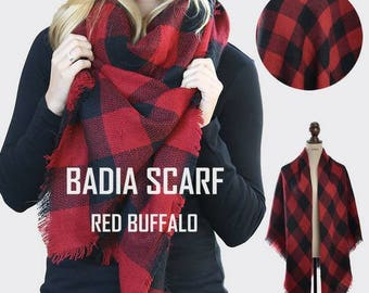 Free Shipping - Monogrammed badia scarf, embroidery personalized buffalo plaid extra large blanket scarves, fringe detail, wrap scarf