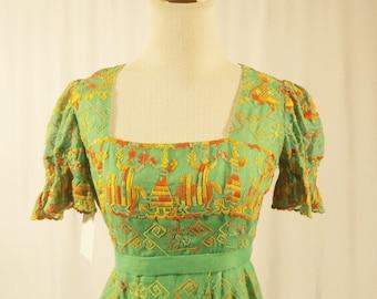 1960's Boho Hand Embroidered Dress/Short sleeve A-line Maxi Dress