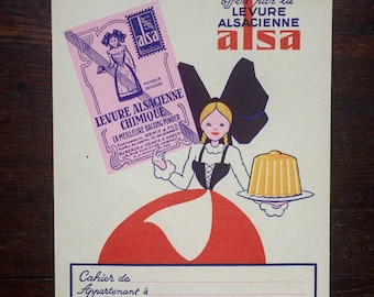 Advertising of the 50s/60s textbook offered by Alsatian yeast ALSA. Kitchen. french vintage