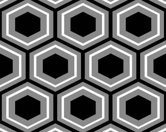 Black & White Geo by Fabric Editions - Hexagons - Cotton Woven Fabric