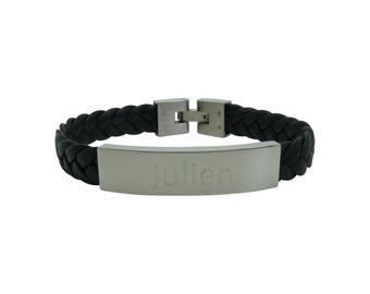 Personalized mens leather and steel bracelet