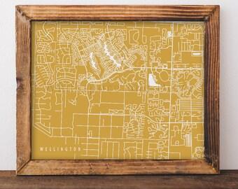 Wellington Map Wellington Art Wellington Map Art Wellington Print Wellington Printable Wellington City Art Florida Art