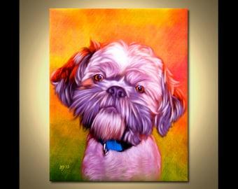 Shih Tzu Portrait | Custom Shih Tzu Portrait | Shih Tzu Painting From Your Photos | Shih Tzu Art by Iain McDonald