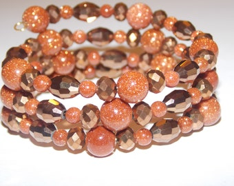 Goldstone and Copper Czech Glass Beaded Memory Wire Wrap Bracelet