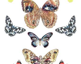 Butterfly Watercolor Print, Butterfly Painting, Fine Art Print, Woman's eyes, Eye spots, Makeup, Watercolor