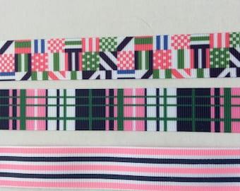 "Preppy plaid stripe pink navy  grosgrain ribbon 7/8"""