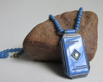 Art Deco Cerulean Blue Glass Necklace