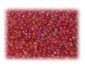 11/0 Red Rainbow Luster Glass Seed Beads - 1 oz. Bag