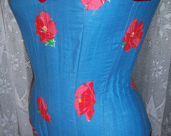 Pretty Poppy Rockabilly Corset Fully Lined