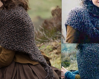PDF knitting pattern:Outlander Knit Shawl Claire's Shawl /Shoulder Wrap- Beginner/ Easy -PDF pattern Only!