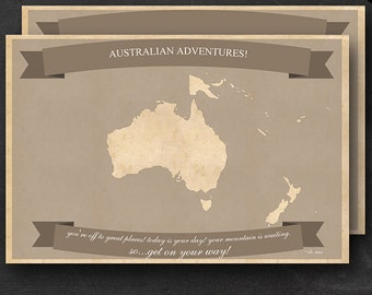 """Australia Travel Maps - Printable Australian Travel Map Instant Download - 24""""x36"""" Wall Art - 2 pack - With Text or Add your own text"""