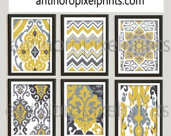 Mustard Yellow Greys Ikat  Print Wall Art Pictures - Set includes  (6) 11x14 Wall Art Prints (UNFRAMED) #251202681