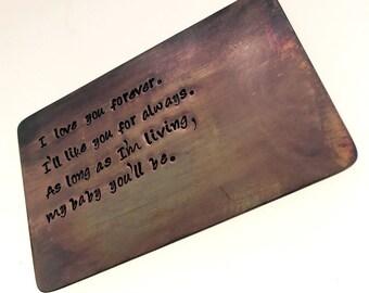 Wallet Insert Bronze Card - Personalized Hand Stamped Antiqued Metal - Gift Husband Boyfriend 8 Eight Year Anniversary, Boyfriend Gift