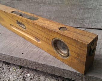 Antique Bulgarian Spirit Level, Primitive Wooden Level Tool 1930 s , Rustic Home Decor, Farmhouse Decor