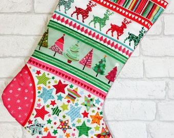 Scandinavian Christmas stocking, Scandi Christmas stocking, Kids Christmas stocking, Quilted Christmas Stocking, Christmas Stocking
