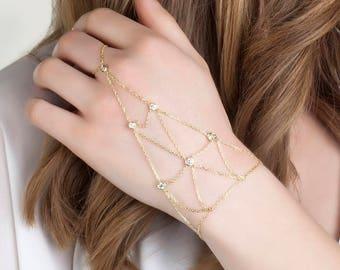 Hand Chain Bracelet ~ Gold Hand Chain Bracelet ~ Matte Brushed Gold Hand Chain ~ Hand Piece ~ Gold Slave Bracelet ~ Hand Chain Ring Bracelet