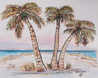 Palm Trees - Seaside -Giclee Print - Island Palms