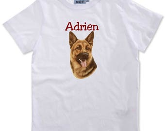 German Shepherd personalized with name boy t-shirt