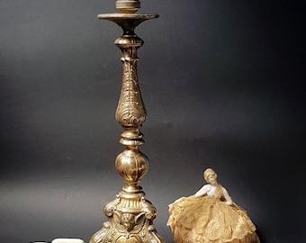 SALE Antique LARGE Bronze Church Candelabra Table Lamp Victorian gilt  bronze figural candelabra table lamp Italian Angel Table Lamp