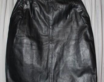 Vintage 1980's Jacqueline Ferrar Black Leather Pencil Skirt