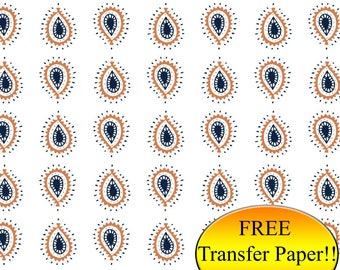 Blue & Orange Rain Drop Pattern Printed HTV - Adhesive Vinyl - Patterned Vinyl - Printed Heat Transfer Vinyl - Printed Pattern Paper