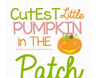 Cutest Little Pumpkin in the Patch Thanksgiving Fall Holiday Iron On - Digital Download - You Print