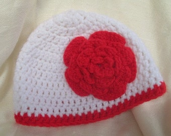 White Hat with Red Flower - Crochet