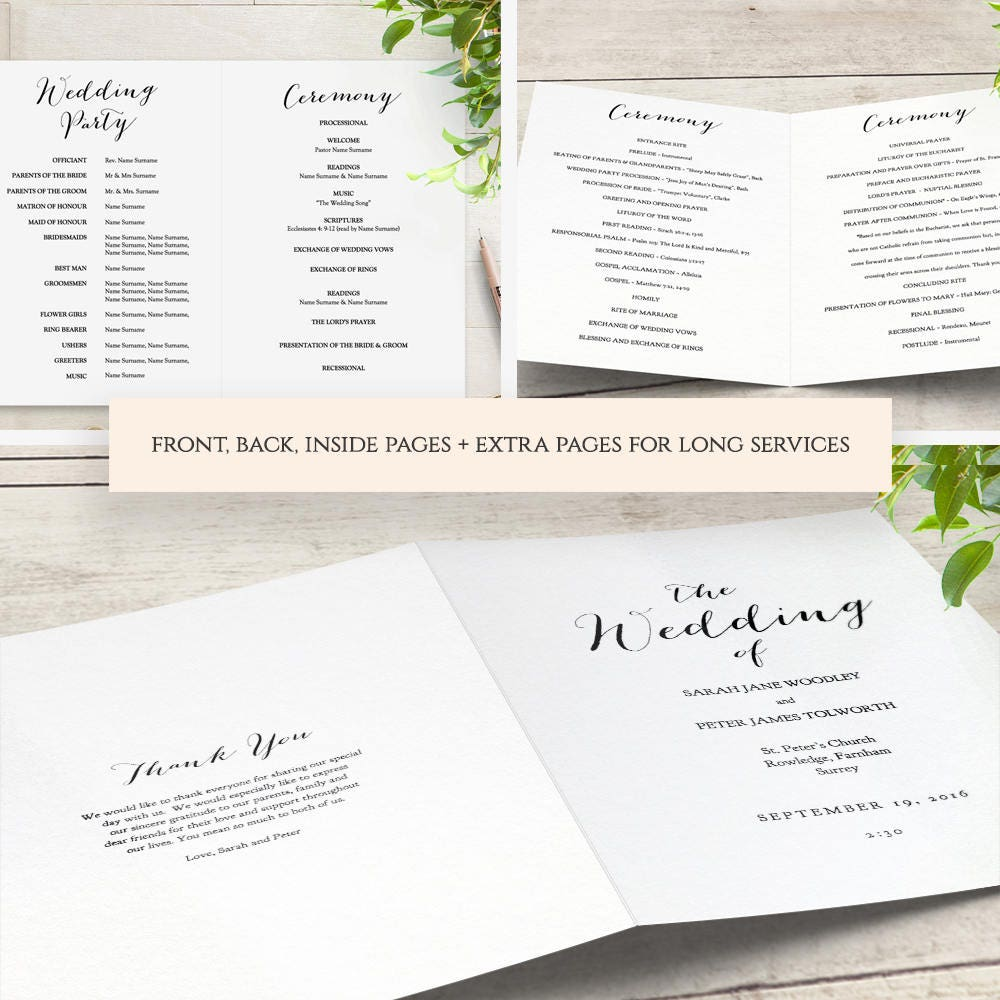 Order of service booklets wedding bands