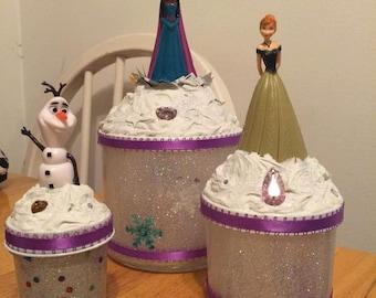 Disney Frozen set of three cupcake jars