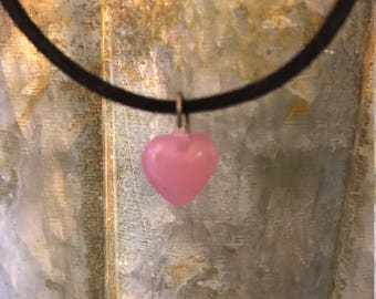 Valentine Pink Heart on Black Adjustable Cord Handmade Necklace by BeckyPaints