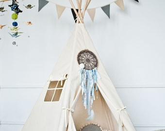 Ecological tipi tent for kids // teepee tent //Play tent for children // Tipi Zelt // easter // birthday gift // hello spring // natural //