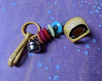 Vintage Bell charm Yellow BMX helmet sports - Charm Bracelet - Necklace - Retro Keychain clip - Zipper Pull - Kitsch Kawaii sporty Mini 80s