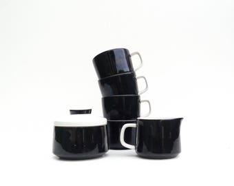 Vintage Mikasa Black and White Creamer and Sugar Bowl with Four Cups,  Mikasa Mediterrania