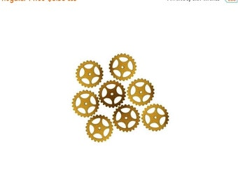 50off Steampunk Large Gears in Ox Antiqued Brass 25mm Qty 8 Lot Assemblage Altered Art Made in the USA