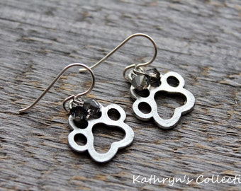 Paw Print Earrings, Paw Earrings, Paw Print Jewelry, Dog Earrings, Gift for Dog Lover