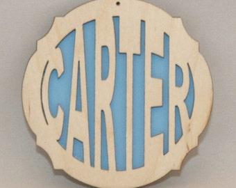 Laser Engraved Custom Name Ornament - LIGHT BLUE
