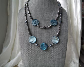Beaded Shell Necklace / Freshwater Pearl Necklace / Seashell Necklace / Blue Necklace / Ocean Necklace / Double Strand / Hematite Necklace