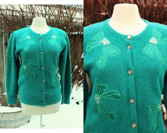 1980's Turquoise Teal Green Embellished Cardigan Sweater Angora Small Medium bows Sequins