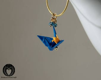 Origami crane pendant with London blue topaz and 14K gold on 925 sterling silver chain - Metallic blue dad and orange baby cranes