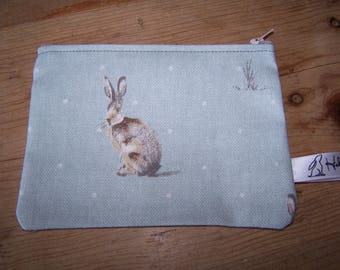 Hare print fabric purse. Rabbit print fabric, coin purse, phone case. Gift for her, teacher gift, Pagan, Wicca, Mothers Day