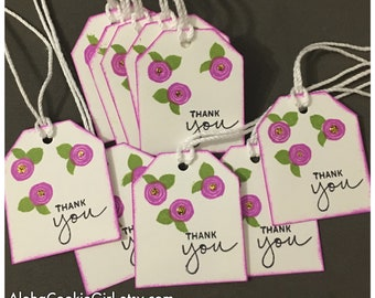 Handmade Thank You Gift Tags Violet Purple Cabbage Rose Flowers Gold Glitter set of 10