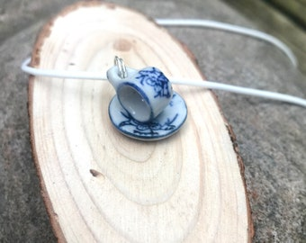 Cup and saucer necklace, Tea cup necklace, Tea lover gift, Gift for her.