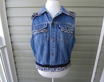 Denim Vest, Upcycled, Altered, Embellished, Black and White, Women's Clothes