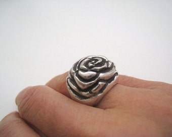 Sterling Silver Rose Ring - Rose Ring - Floral Ring - Romantic Gift - Nature Inspired - Mom Gift - Valentine 's Gift