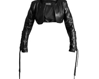 Black eco leather jacket bolero biker shrug gothic dark ouija occult handmade in Italy limited edition witch