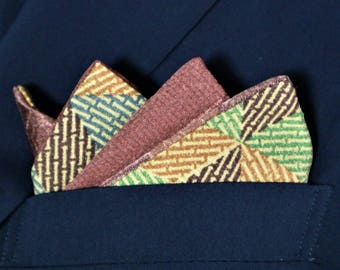 Pocket Square Men's 2 Style Japanese Vintage Kimono Fabric With Gift BOX HANDMADE 51