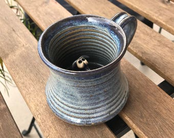 Vintage Coffee Tea Mug with Adorable 3D Puppy or Little Goat Figure Inside, Adorable Handmade Pottery