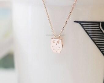 tiny Rose Gold owl necklace, tiny owl necklace Rose Gold, dainty, cute, animal necklace, necklaces for women, wedding, birthday gifts.