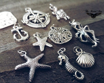 Ocean Charms Set Assorted Charms Sea Charms Nautical Charms Themed Charms 10 pieces with Jump Rings attached Charm Sets Sand Dollar Starfish