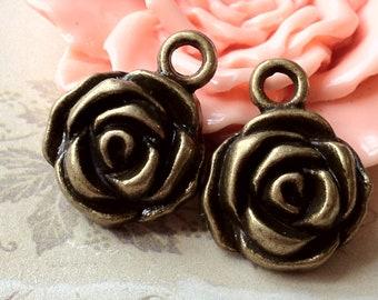 15 mm Antique Bronze little Rose Charm Pendants (.su)